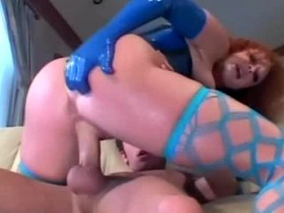 Redhead Anal Sex In Stockings And A Latex Corset (2)