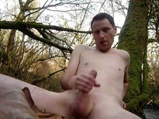 Kudoslong Naked Outdoors By The River And Wanking His Shaved Smooth Cock