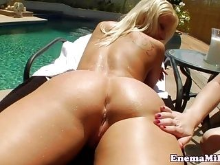 Outdoor Milk Enema Lesbian Squirts In Mouth (2)