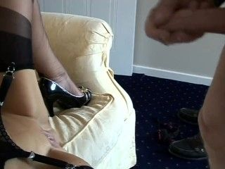 Mature Ikes Spunk Over Her Stocking Tops
