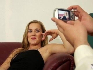 Fakeshooting Naive blond is surprised when fake agent show his cock