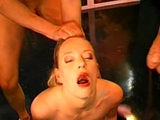 Slutty Blonde Gets Her Face Covered With Cum On The Blowbang Action