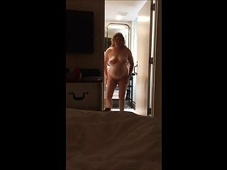Natural blonde BBW housewife in hotel