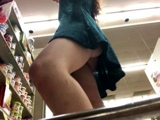 Flashing & Rubbing Pussy in a Public Store!  freckledred.manyvids.com