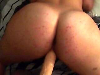 Big Ass Doggy Huge Dildo Suction Cup Win Chubby Brunette