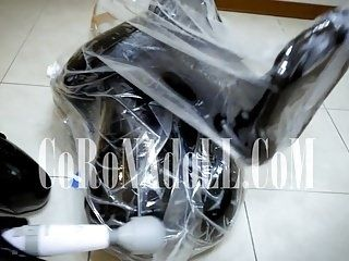 Vacuum Bag Bondage Breath Paly rubber leather