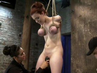 Huge Titted 19Yr Old Suffers A Category 5 Suspension Hung By Boobs, Elbows And Pussy.