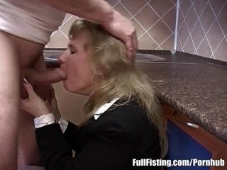Blonde Housewife In Stockings Receives Deep Pussy Fisting (10)