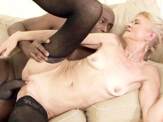 Old Blonde Granny Gets Black Cock Anal