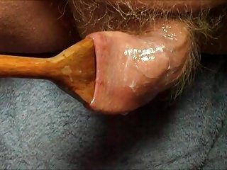 Large Wooden Spoon Stretches Foreskin - 5 More Videos