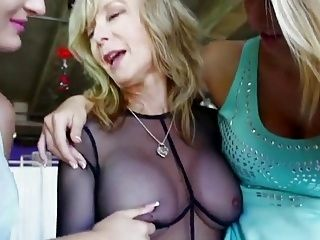 2 Gorgeous Blondes learn by a Mature Woman.