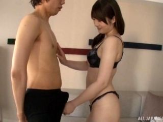 Ikushima Ryou wears nice lingerie while sucking a fat cock