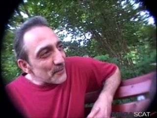 Old Man Shit On The Face Of A Young Blonde Girl Outdoor