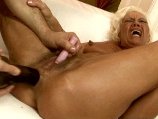 Tight ass hole of trashy granny ORHIDEA is drilled with fat dildo