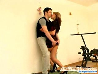 Laura and Adam nasty anal pantyhose movie