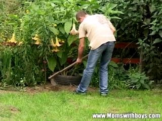 Mature widower takes advantage of the young gardener 6