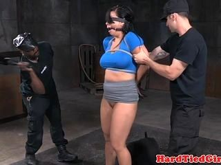 Restrained Bdsm Sub Throated And Toyed (2)