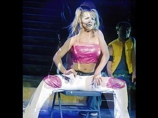 Britney Spears Hot PVC Stage Cock Teasing Outfit