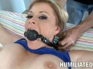 Marvelous slaved blonde with hot ass receiving superb pussy drilling in BDSM porn