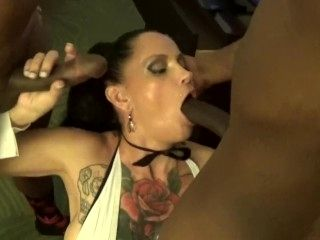 Hot tatted up wife whored out to two BBC