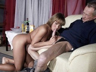 Very Old Man Fucks Very Young Girl And Cums On Her Tongue After Pussy Sex (2)