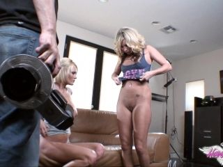 Delightful Blonde Lesbian Showcasing Her Shaved Pussy Backstage (2)