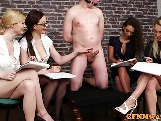 British Cfnm Babes Jerking Their Sub In Group (4)